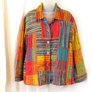 Travel Smith Bohemian Colorful Patchwork Blazer Jacket Large